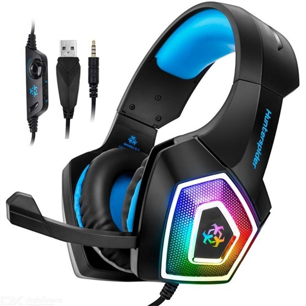 Hunterspider V1 Stereo Gaming Headphones Surround Headset With Mic LED Light For PS4 Xbox One PC