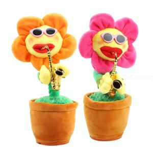 Saxophone Dancing And Singing Stuffed Enchanting Sunflower Soft Electronic Plush Toys For Kids Gift