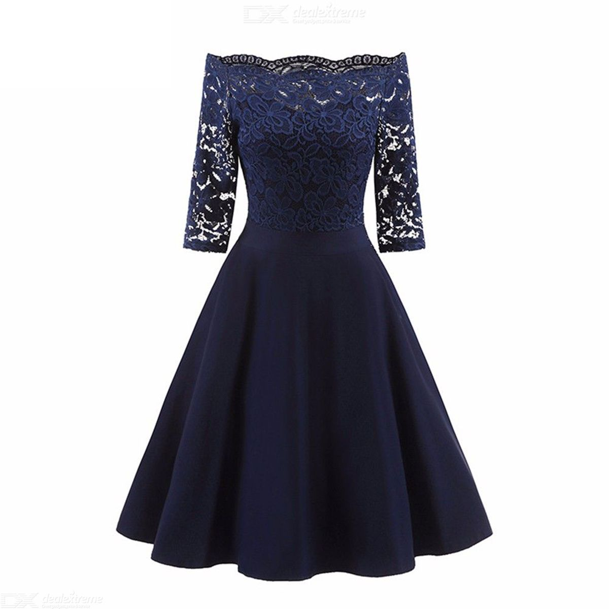 Womens Slash Neck Elbow-length Sleeve Lace Dress, Vintage-style Solid Openwork Lace Dress For Women