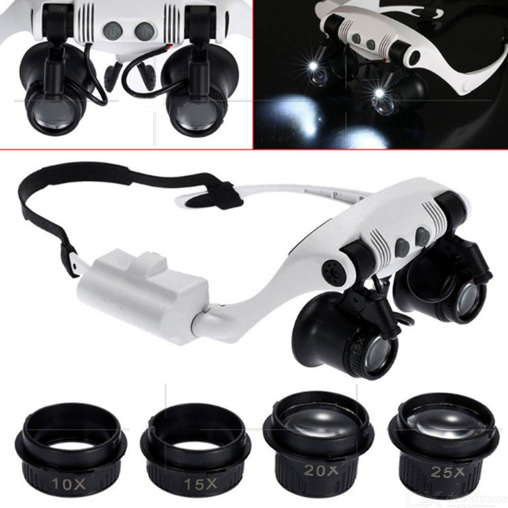 10x 15x 20x 25x Adjustable Optical Lens Glasses Magnifying Glass With Led Lamp For Repair