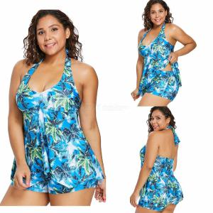 Summer Swimming Suit Print Two-Piece Bikinis Plus Size Bathing Set For Women