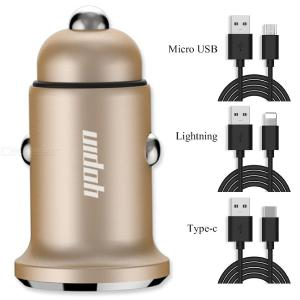 USAMS Mini Dual USB Mobile Phone Chargers For Car Lighter Slot