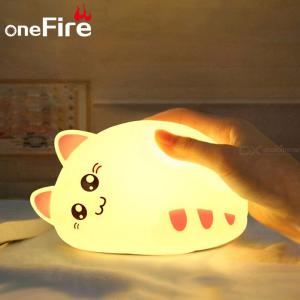 LED Night Lights Colorful Cute Silicone Cat Shape Lamp Tap Touch Sensor Bedroom Desktop Decoration