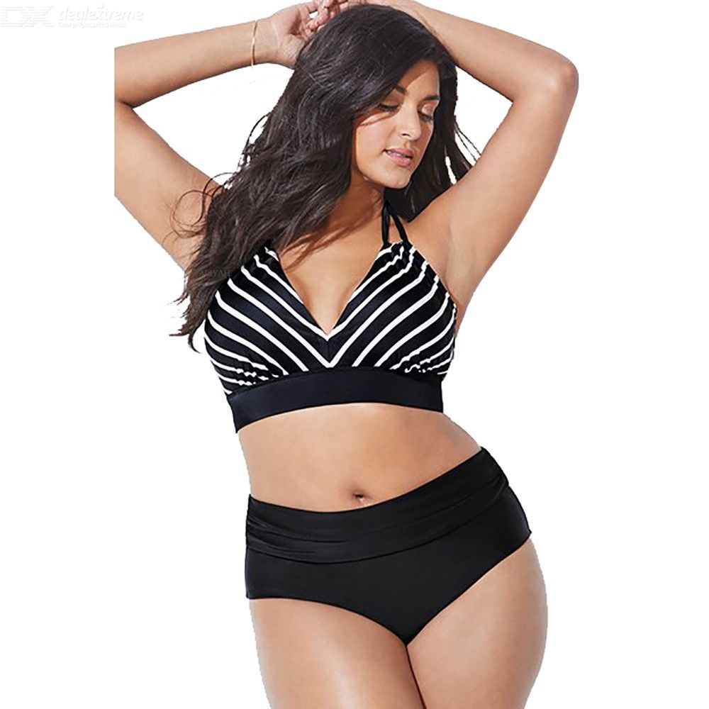334119620ef1e Summer Two-Piece Bikinis Set Striped Plus Size Lace Up Swimming Suit ...