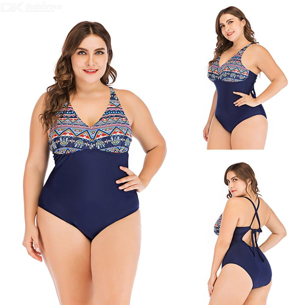 Summer Backless Lace Up One-Piece Bikinis Plus Size Swimming Suit For Women 1909