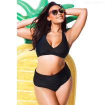Summer-Swimming-Suit-Plus-Size-Black-Dot-Patchwork-Halter-High-Waist-Two-Piece-Bikinis-For-Women