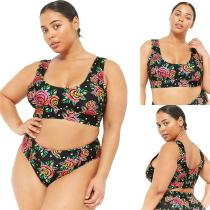 4525f5e5bb0cd Summer Two-Piece Bikinis Set Floral Print Plus Size Swimming Suit For Women
