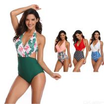 Summer-Swimming-Suit-Leaves-Dot-Print-Patchwork-Sexy-Two-Piece-Bikinis-Suit-For-Women