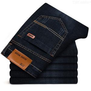 Brother Wang Brand Slim Jeans Straight Business Trousers Denim Pants For Men