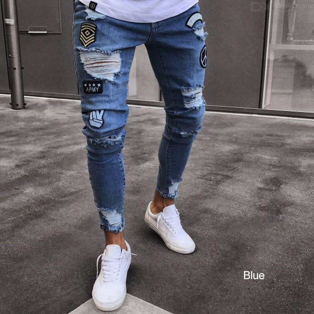 Ripped Skinny Jeans Frayed Slim Denim Trousers Hip Hop Fashion Pants For Men