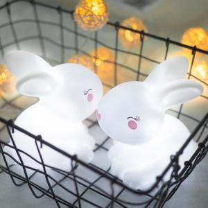LED Night Lights Kid Cute Rabbit With Face Shape Lamp Room Corridor Decor Small Lighting