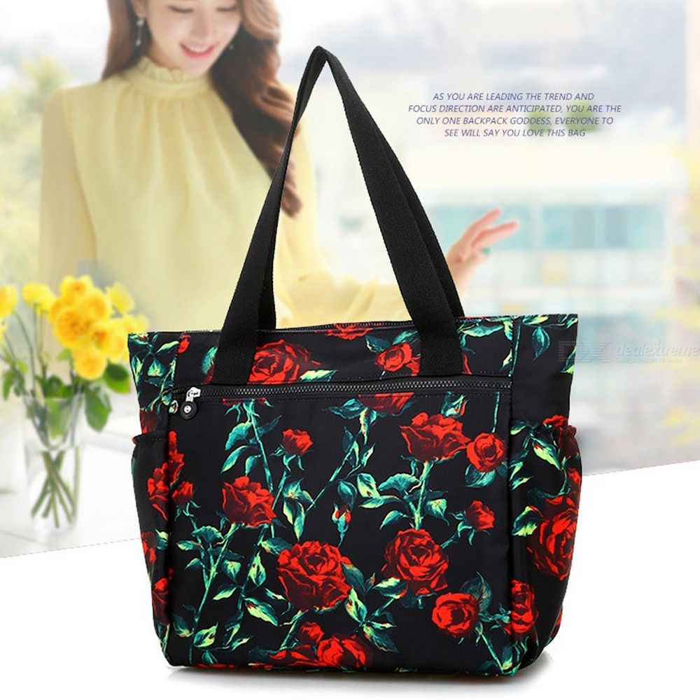 Fashion Handbags Casual Floral Print Zipper Large Capacity Nylon Shopping Tote Bags For Women