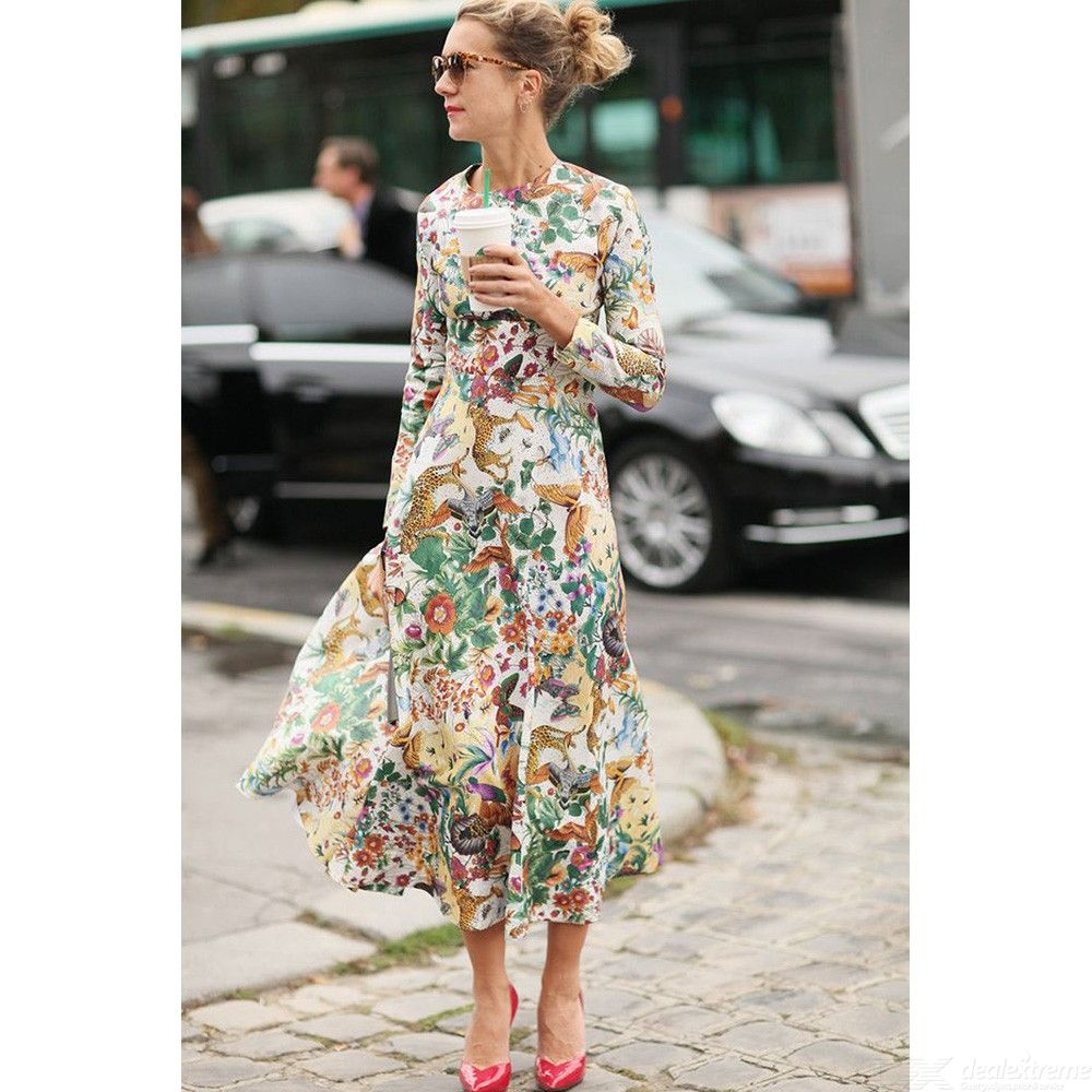 Long Sleeve Maxi Dress Animal Lion Butterfly Print O-Neck A-Line Dresses For Women