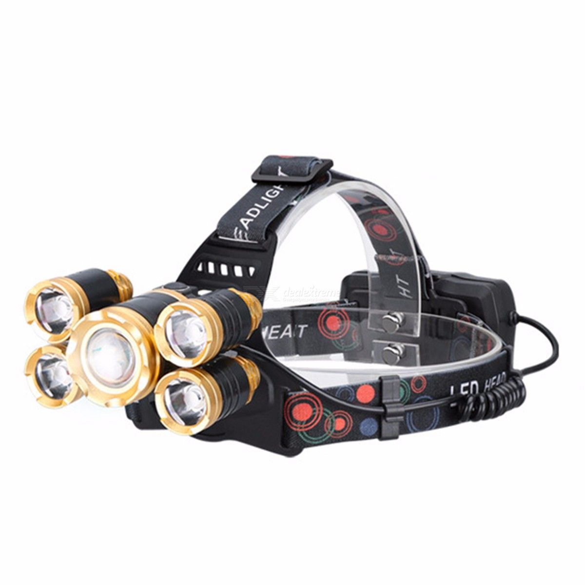 T6 USB Rechargeable LED Headlamps Waterproof Strong Light Sensor 5 Heads Fishing Lamp With Charger