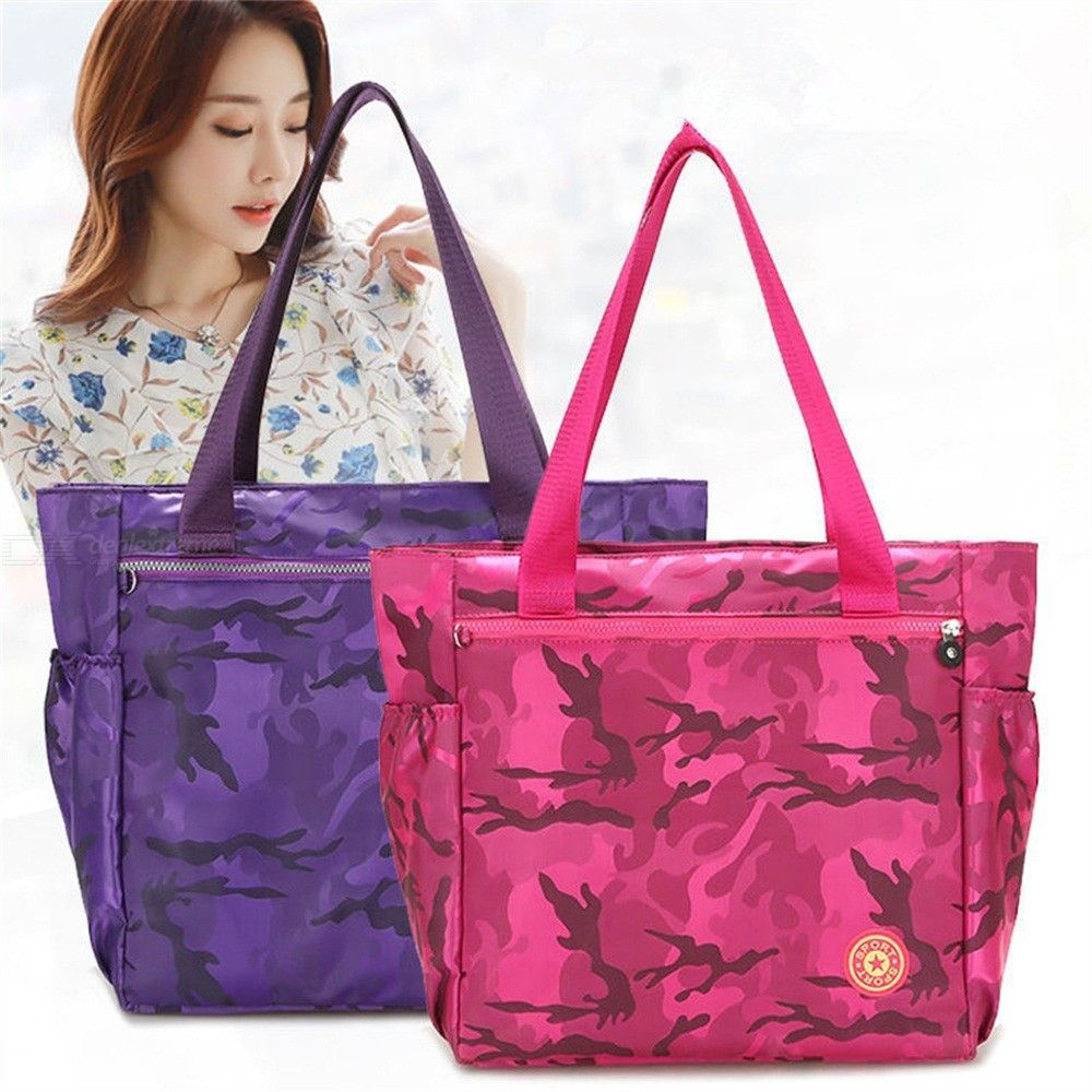 Camouflage Handbags Waterproof Nylon Large Capacity Travel Shopping Bags For Women