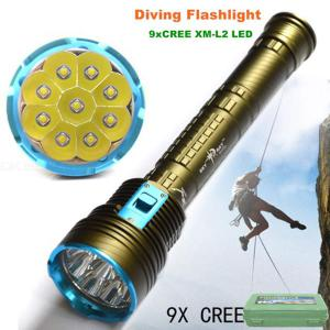 AIBBER TONE T6 9-LED Diving Flashlight, Anti-skid Hand Grip Searchlight for Outdoor Lighting