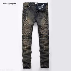 Mens Stylish Biker Jeans Solid Stretchy Tapered Leg Pants