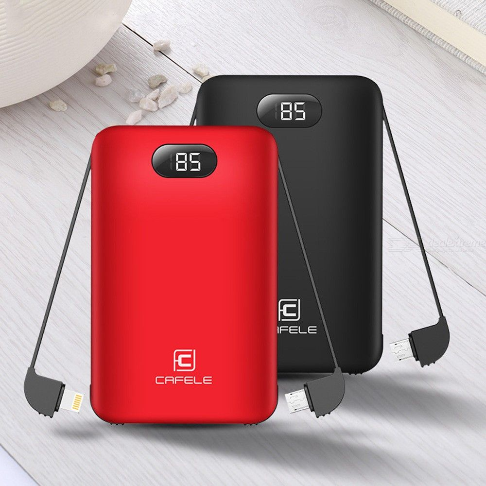 8,000mAh Portable Power Bank Ultra-slim Charging Station With Type-C Lightning Cords