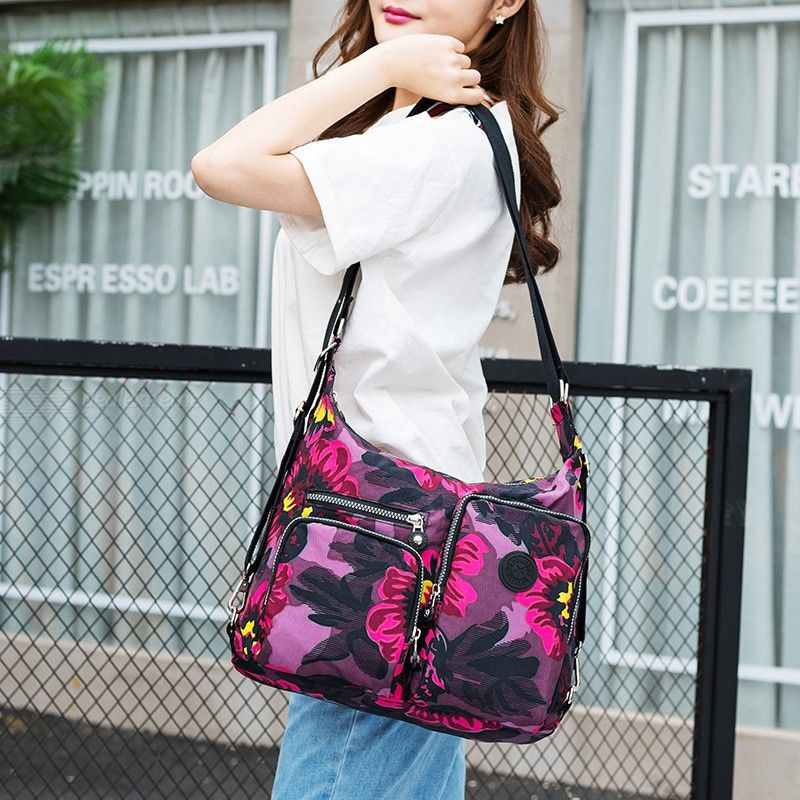 Women Shoulder Bags Nylon Large Capacity Zipper Handbags Travel Messenger Bags