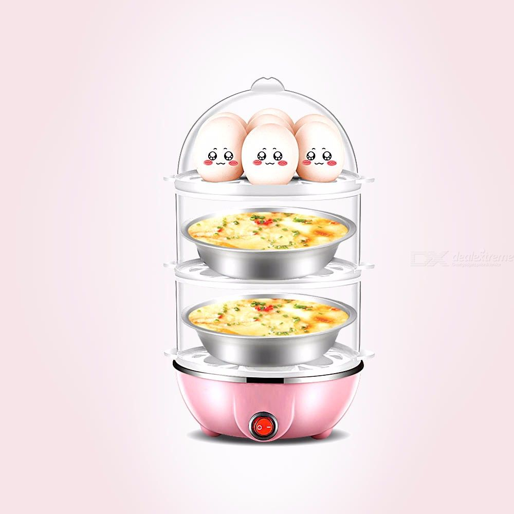 Multifunctional Three Layers Electric Mini Egg Boiler Cooker Steamer Automatic Power Off 350W 220V