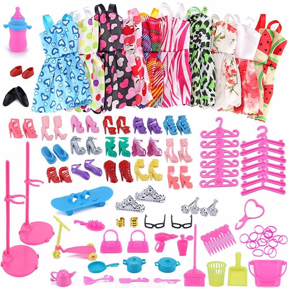 83PCS Girls Playset Clothes Accessories Furniture Set For Barbie Doll