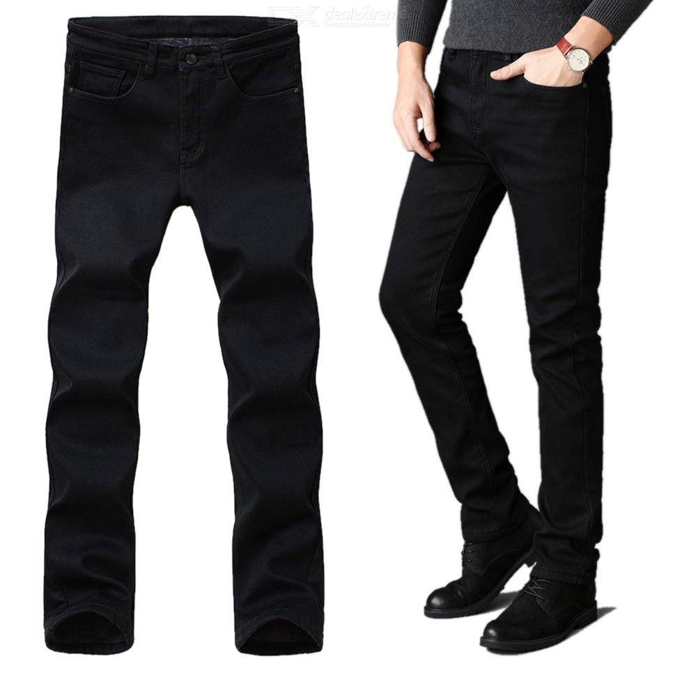 Mens Tapered Leg Jeans Solid Slim Fit Pencil Pants