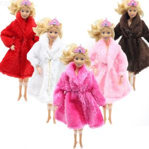 Childrens Doll Clothes Plush Overcoat For 29cm Barbie Doll