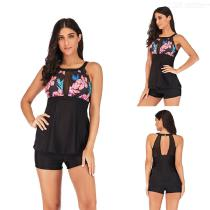 Womens-Halter-style-Swimsuit-Vintage-Two-Piece-Print-Swimdress-With-Briefs