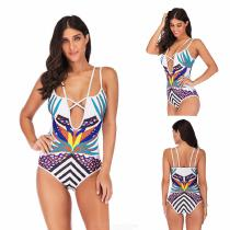Womens-V-neck-One-piece-Suit-Vintage-Printed-Backless-Swimsuit