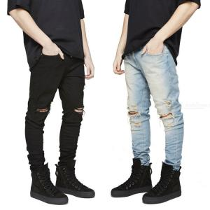 Stylish Ripped Jeans Fashionable Slim Fit Pants For Men