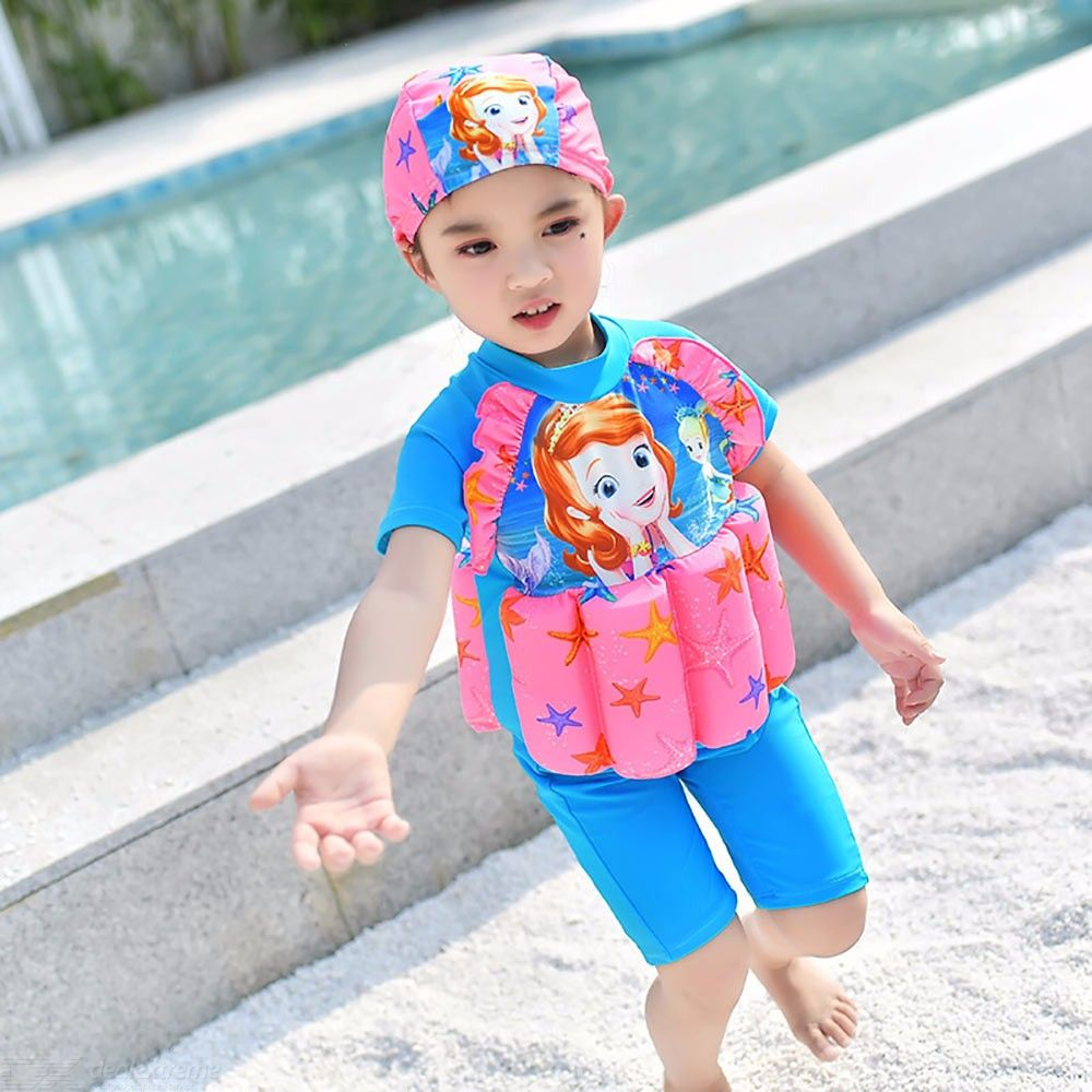 Cartoon Floating Buoyancy Swimsuits Children Swimwear Training Float Suits With Cap