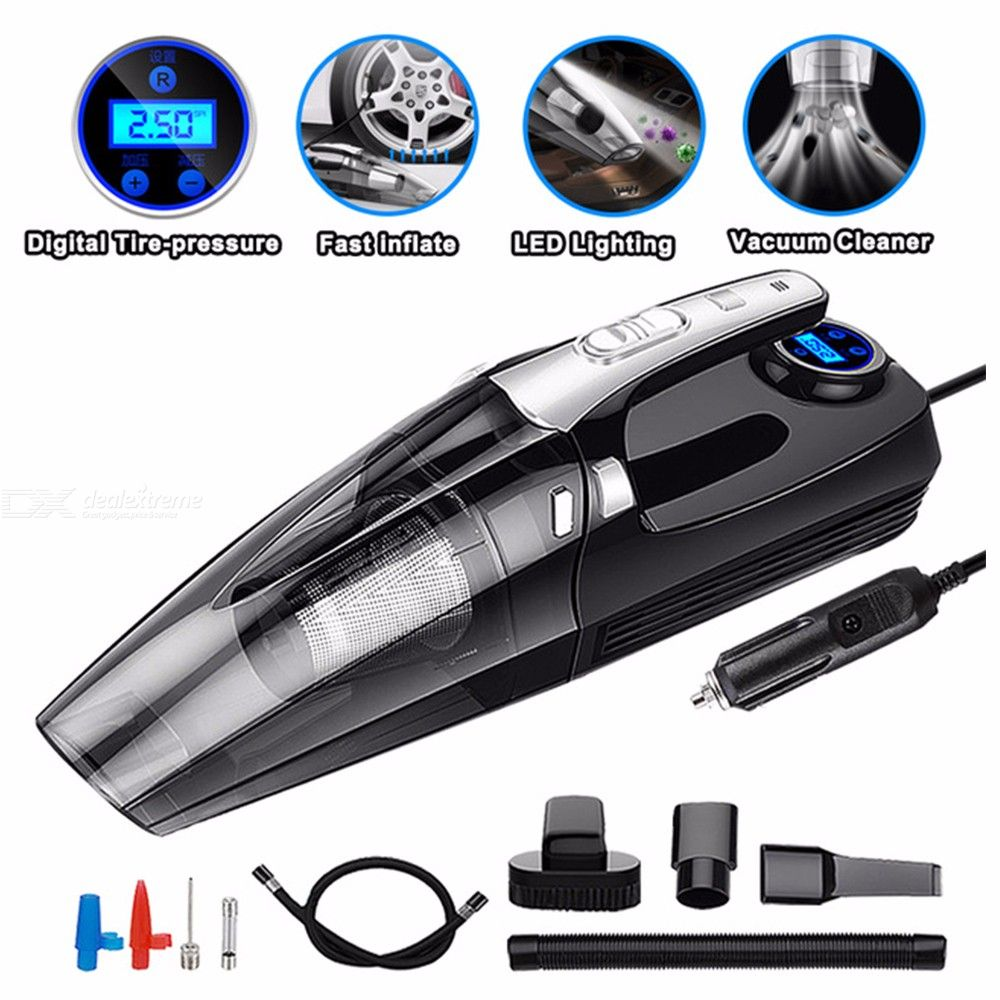 4-in-1 Car Vacuum Cleaner 12V/100W Handheld Vacuum 4000Pa High Suction 3 Head Tool Accessories