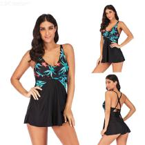 Womens-Floral-Print-Swimsuit-Patchwork-Slim-Fit-Swimdress-With-Briefs