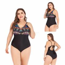 Womens-One-piece-Swimsuit-Vintage-style-Floral-Print-Patchwork-Suit