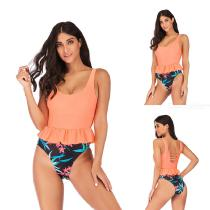 Womens-Ruffled-One-Piece-Swimsuit-Patchwork-Floral-Print-Backless-Tankini
