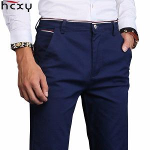 Mens Straight-fit Pants Casual Solid Mid-rise Cotton Trouser
