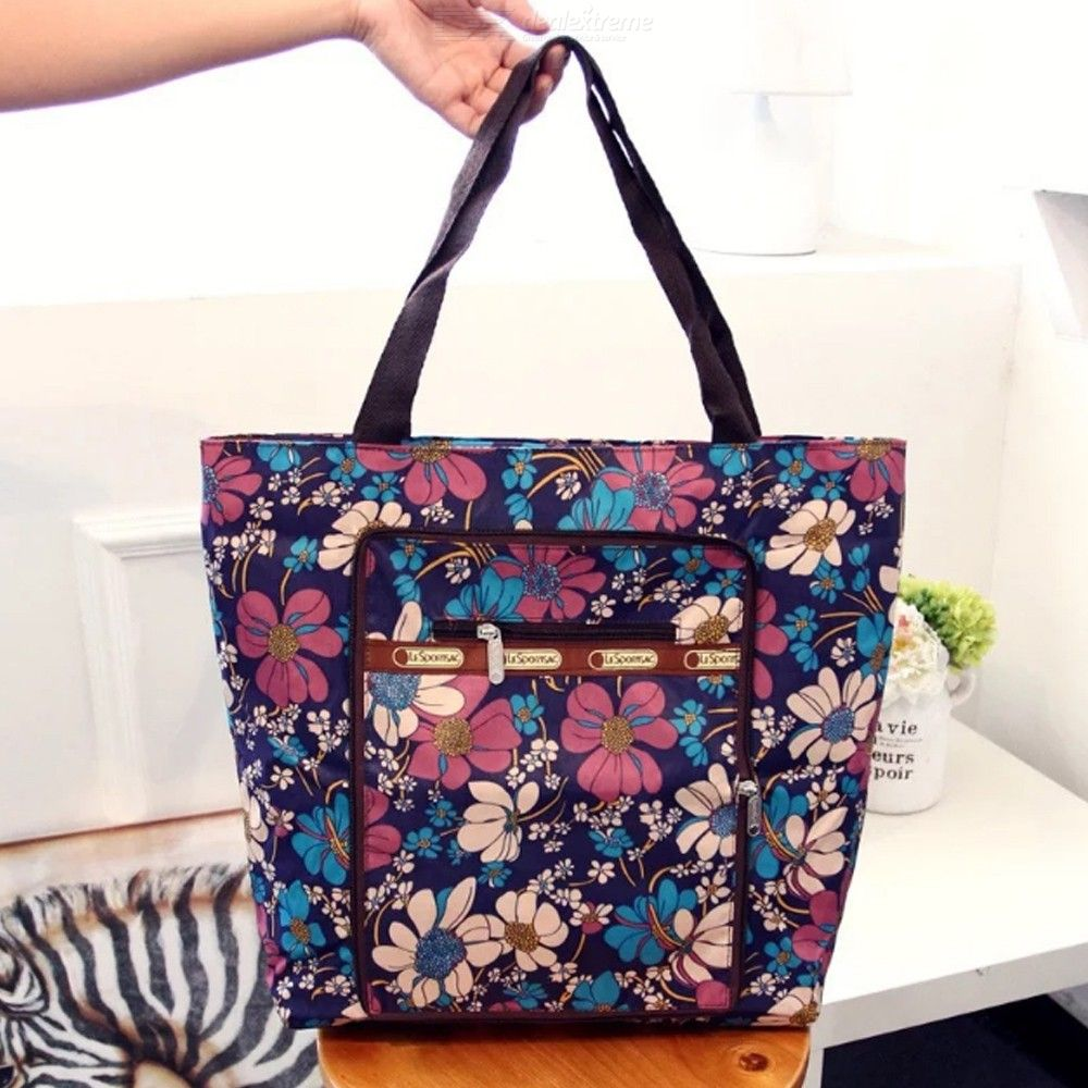 Fashion Handbags Casual Floral Print Zipper Large Capacity Nylon Shopping Bags For Women