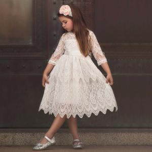 Princess Girls Dress Cute Lace Floral Hollow Knee-Length Tulle Dresses For Kids