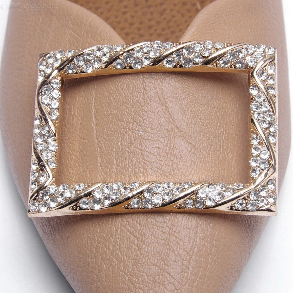 1 Pair High-Grade Shoes Buckle Flower Rectangle Shining Rhinestone Shoes Accesso