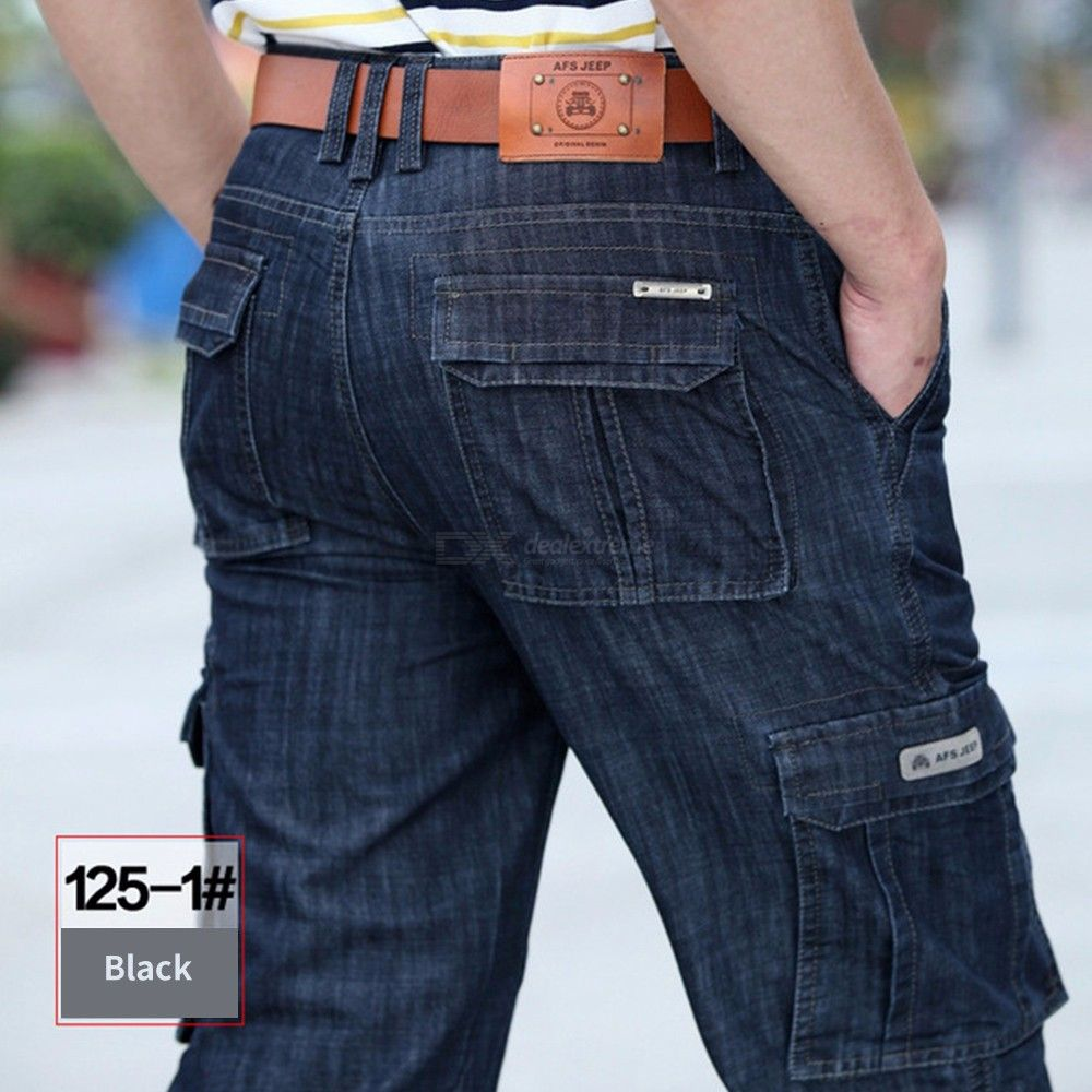 Mens Straight Jeans Classic Safari Style Solid Relaxed-fit Pants