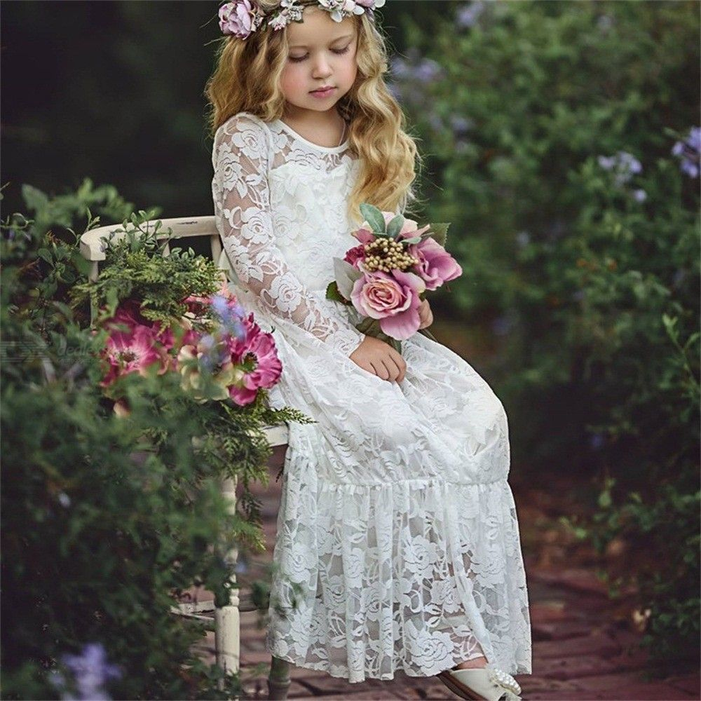Long Sleeve Kids Lace Dress Floral Hollow Bowknot Cute Princess Dresses For Girls