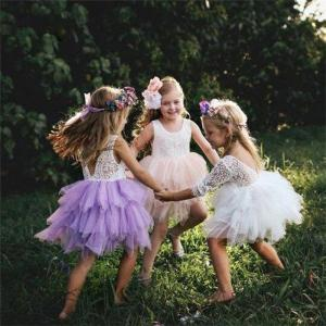 Princess Baby Girls Dress Backless Lace Sleeveless Tulle Tutu Party Formal Dresses