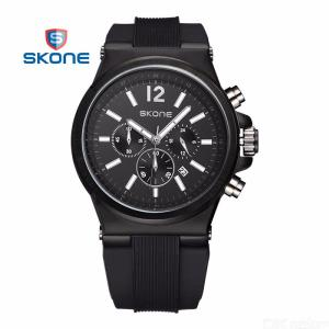 Multi Function Date Quartz Wristwatch Waterproof Watches With Silicone Band For Men