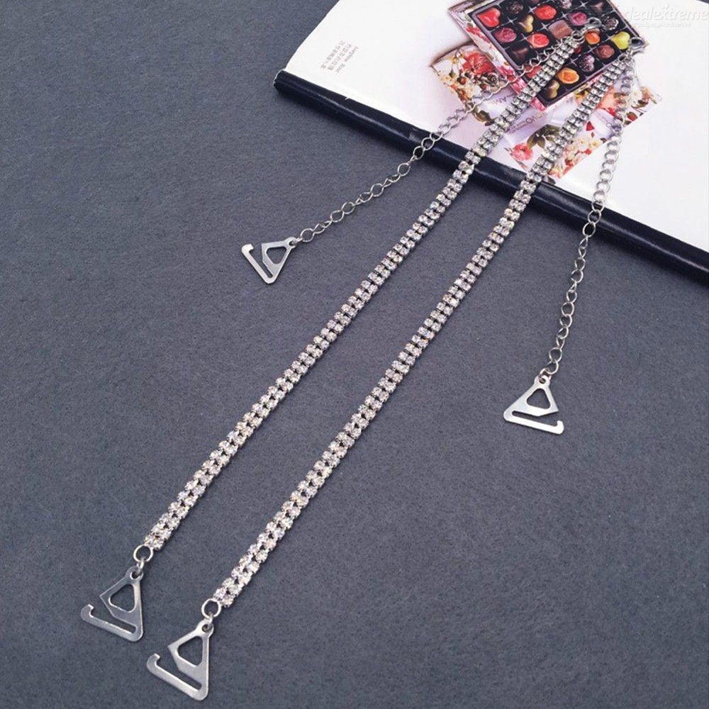 Women Adjustable Bra Straps Metal Rhinstone Invisible Shoulder Strap With 2.2cm Hook