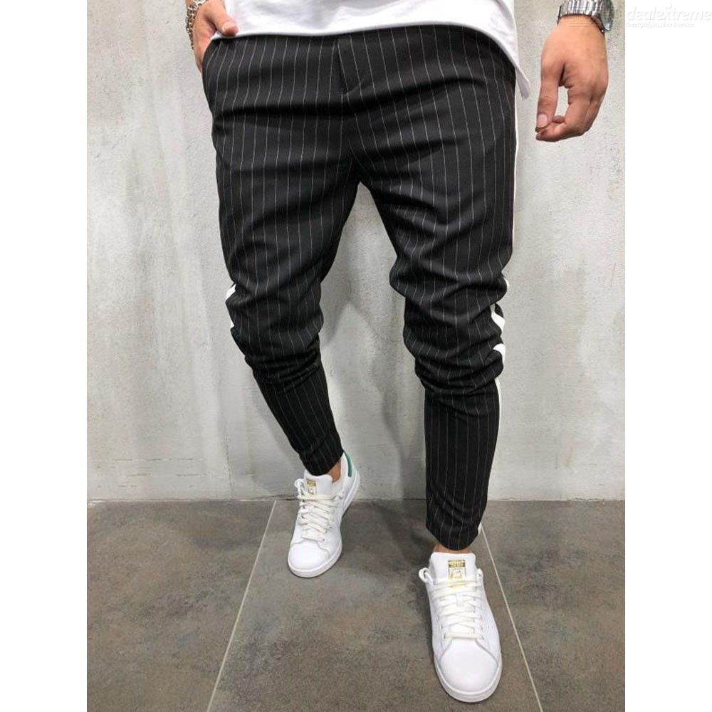 Mens Casual Pencil Pants Casual Striped Tapered Leg Trousers
