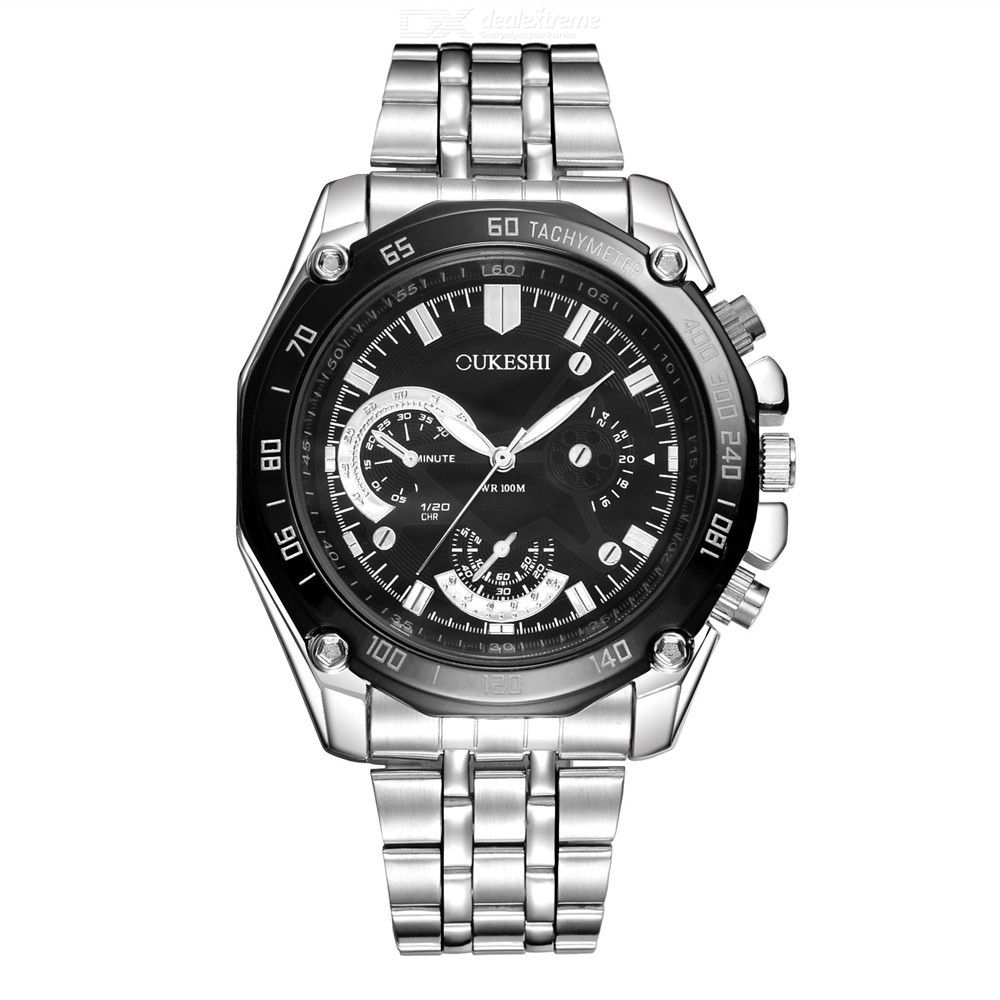 Multi Function Quartz Wristwatch Waterproof Watch With Stainless Steel Band For Men
