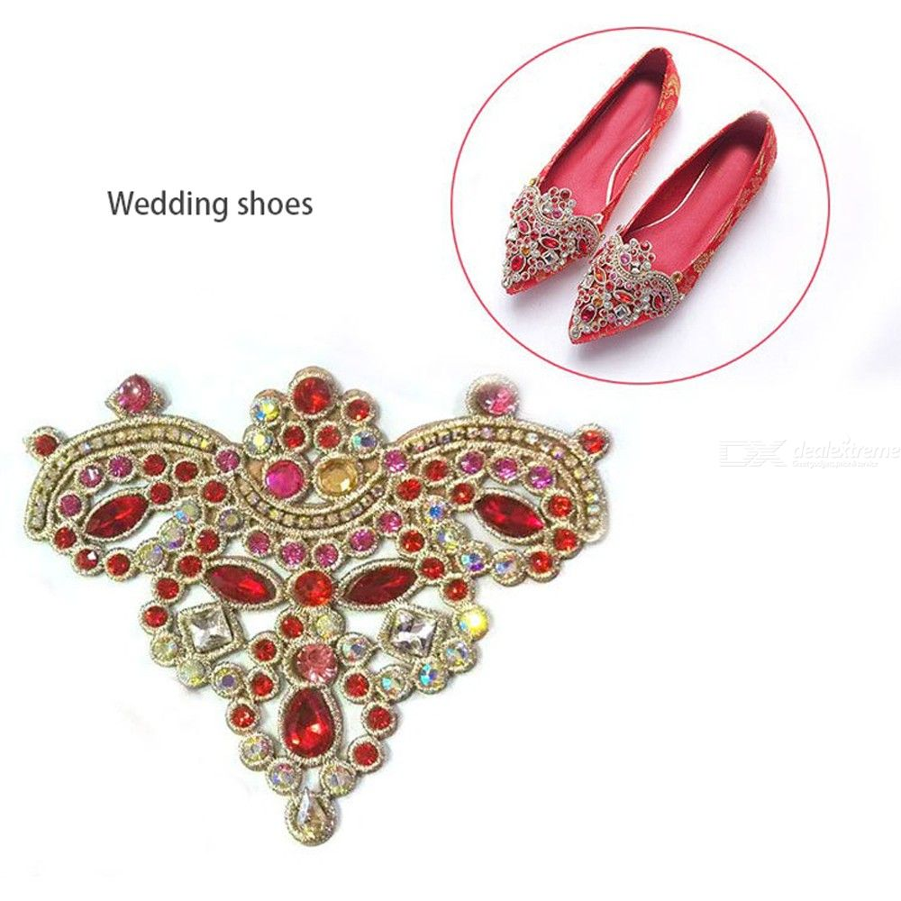 1 Pair High-Grade Shoes Buckle Flower Shining Crown Rhinestone Lace Shoes Access