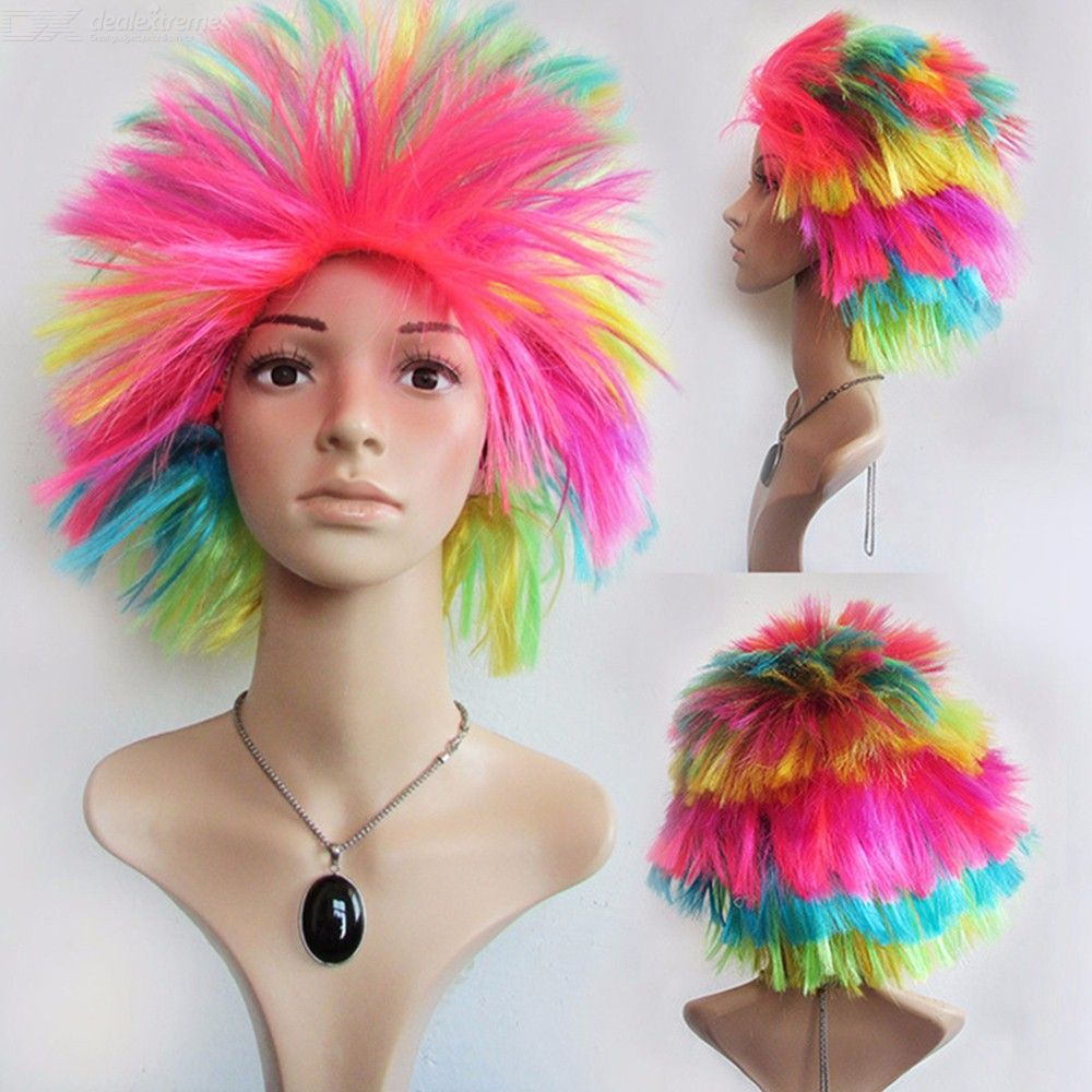 Role-Playing Fan Colorful Explosion Head Dance Bar Performance Props Cosplay Funny Wigs