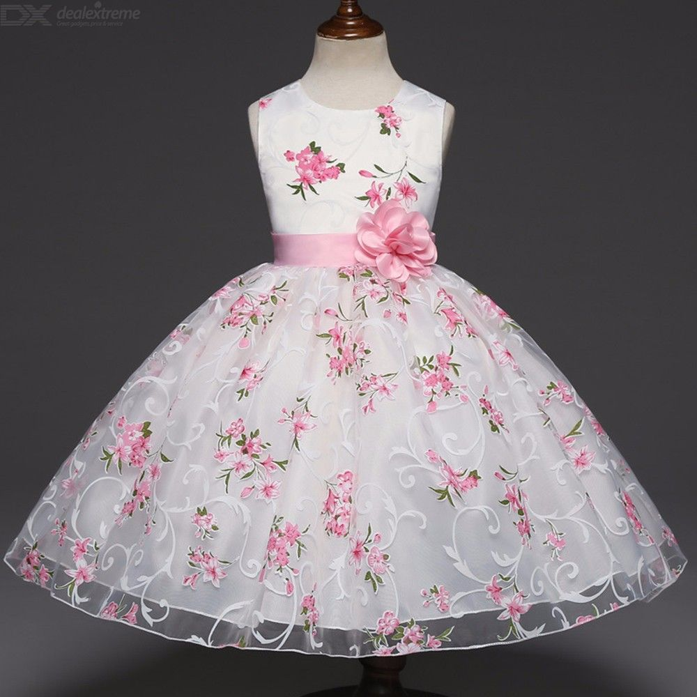 Cute-Floral-Print-Mesh-Dress-Round-Neck-Sleeveless-Ball-Gown-For-Toddler