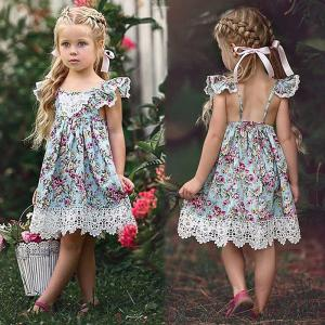 Cute Floral Print Dress Round Neck Strappy Dress With Petal Sleeves For Toddler